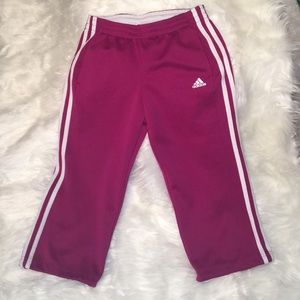 Adidas pink cropped capris sweat work our pants